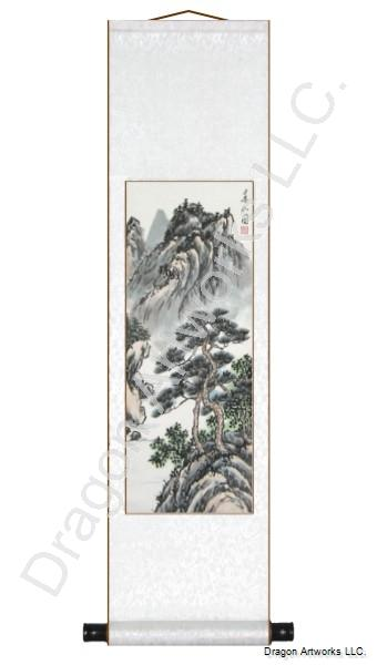 Chinese Mountains Landscape Painting Scroll 2