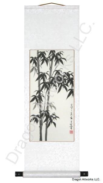 Chinese Brush Art Black Bamboo Scroll Painting
