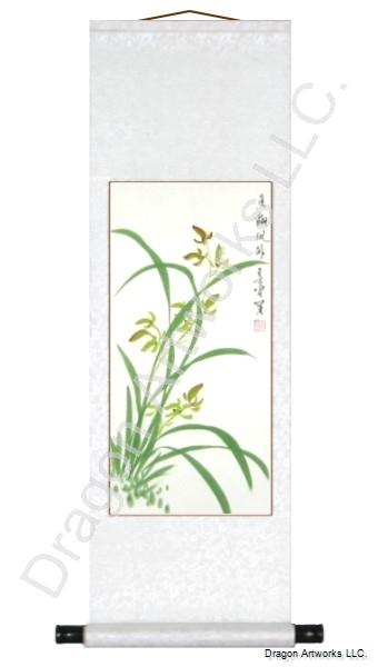 Chinese Orchids Brush Art Painting Scroll