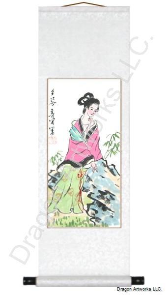 Chinese Woman Scroll Brush Art Painting 1