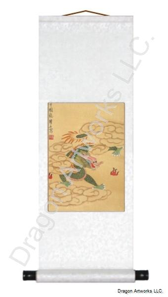Chinese Green Dragon on Silk Chinese Scroll Painting