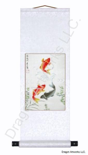 Chinese Fish Wall Scroll Painting