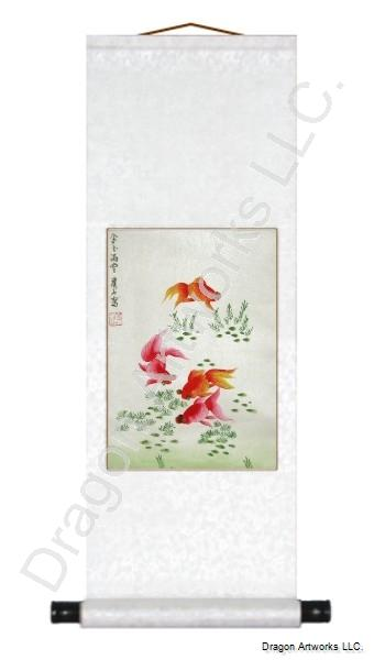 Chinese Gold Fish Scroll Painting