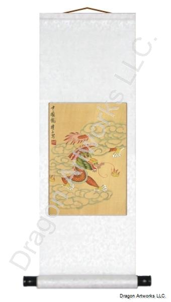 Chinese Red Dragon Brush Art Painting Scroll