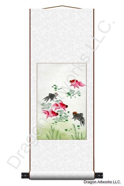 Chinese Gold Fish Painting Wall Scroll