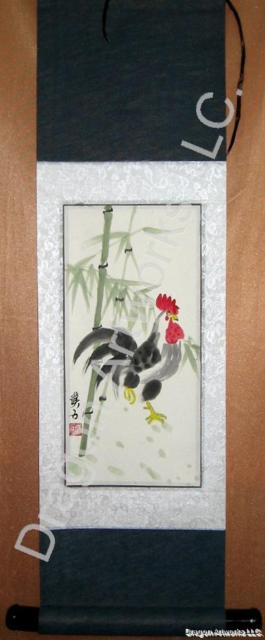 Chinese Zodiac Rooster Painting Wall Scroll