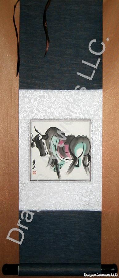 Chinese Zodiac Ox Scroll Painting