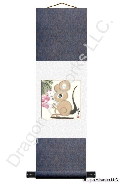 Chinese Zodiac Rat Scroll Painting