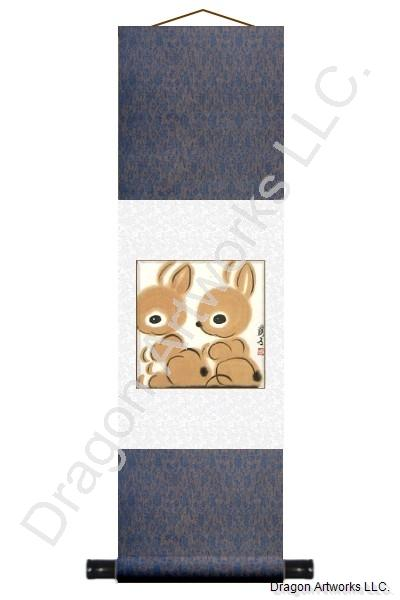 Chinese Zodiac Rabbit Wall Scroll Art Painting