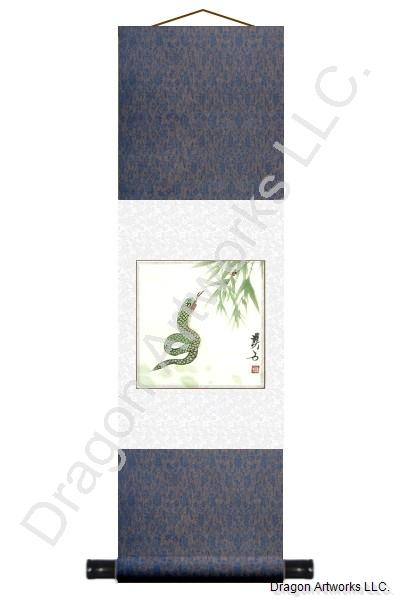 Chinese Snake Zodiac Symbol Painting Wall Scroll