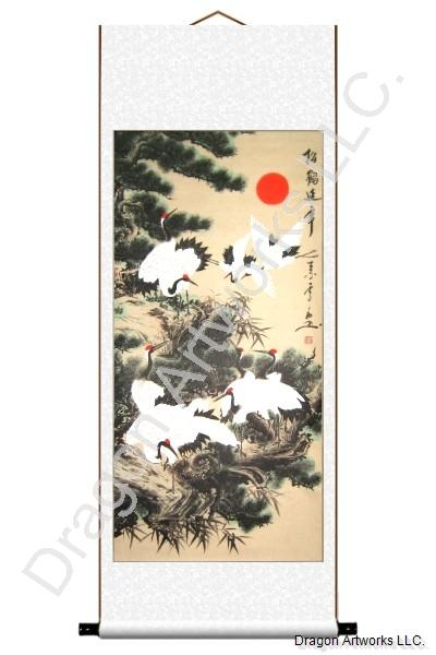 Chinese Cranes and Pine Trees Painting Scroll