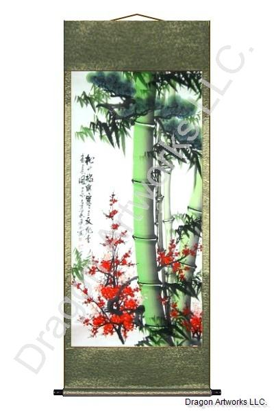 Bamboo Pine Trees and Plum Blossoms Wall Scroll Painting