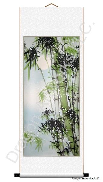 Bamboo, Snow and Moon Wall Scroll Chinese Painting