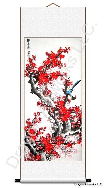 Chinese Plum Blossoms and Birds Scroll Painting