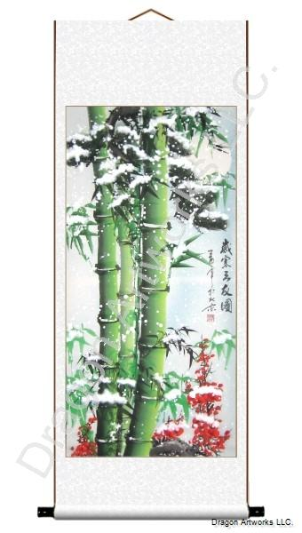 Chinese Bamboo, Pine Trees and Plum Blossom in Snow Scroll