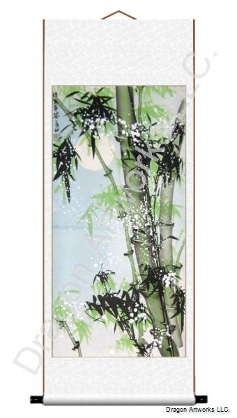 Bamboo, Snow and Moonlight Painting Chinese Scroll