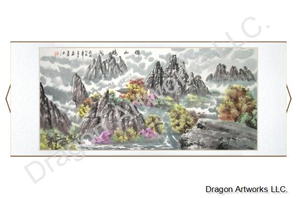 Chinese Buddha Mountain Pavilion Scroll Painting