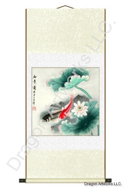 Chinese Painting of Two Fish and Lotus Flowers Scroll