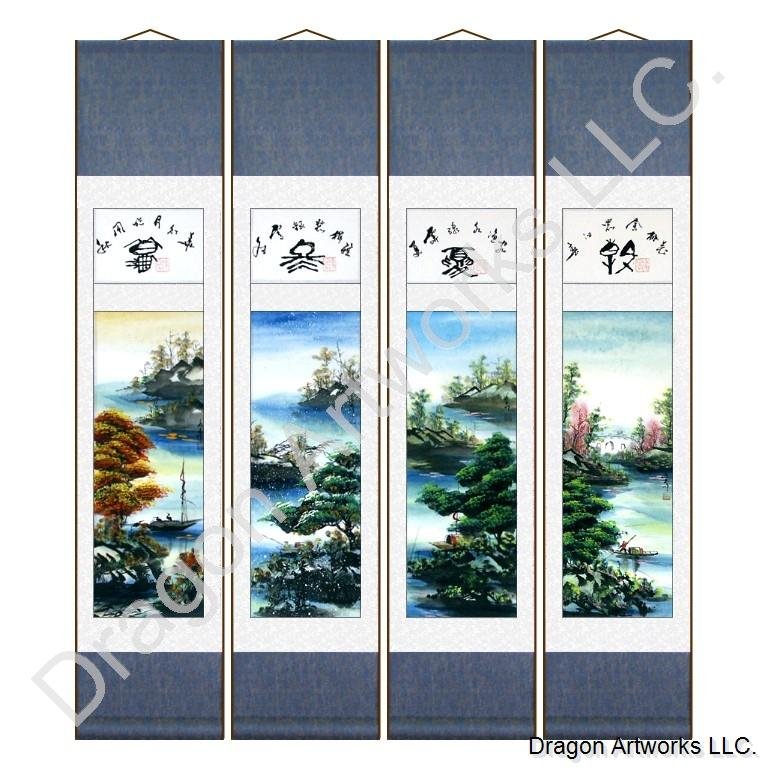 Chinese Four Seasons And Boats Scroll Painting Set