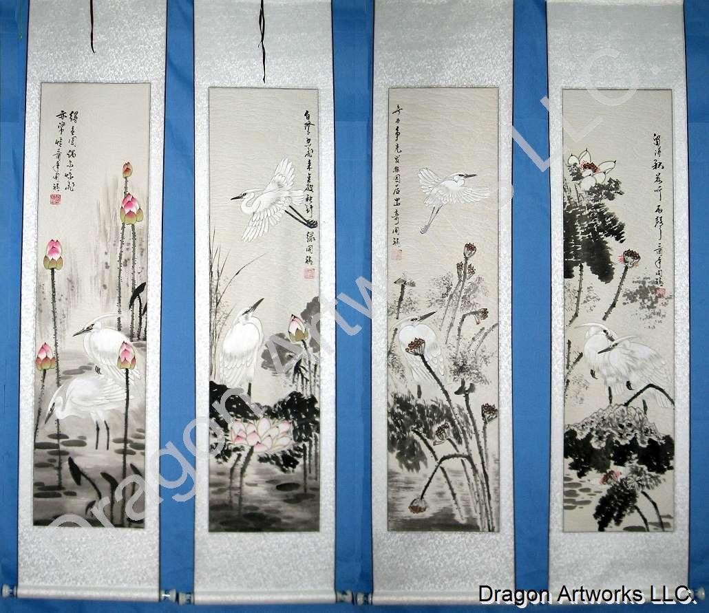 chinese painting of herons wall scroll set