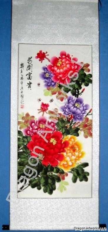 Chinese Peonies and Bees Painting Wall Scroll