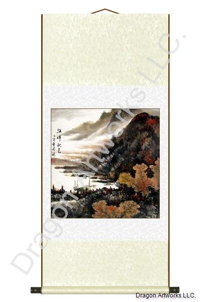 Chinese Boat by a River Fall Season Painting Wall Scroll