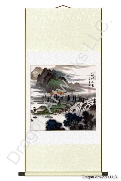 Homes in the Mountains Summer Season Painting Wall Scroll