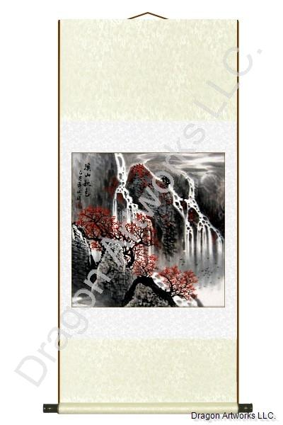 Birds Flying Over Waterfalls Fall Season Scroll Painting