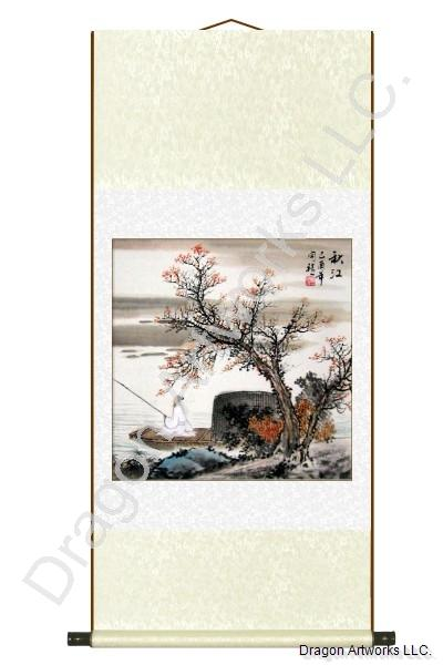 Chinese Man In a Boat Fishing Wall Scroll Painting