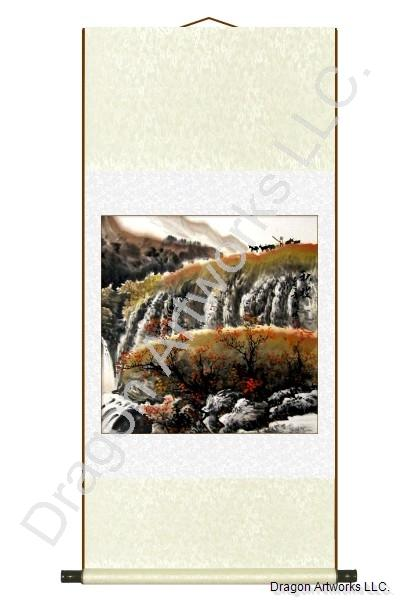 Chinese Goat Herder in the Mountains Fall Season Scroll