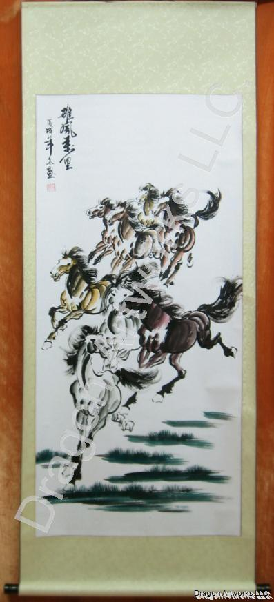 Chinese Eight Colorful Horses Scroll