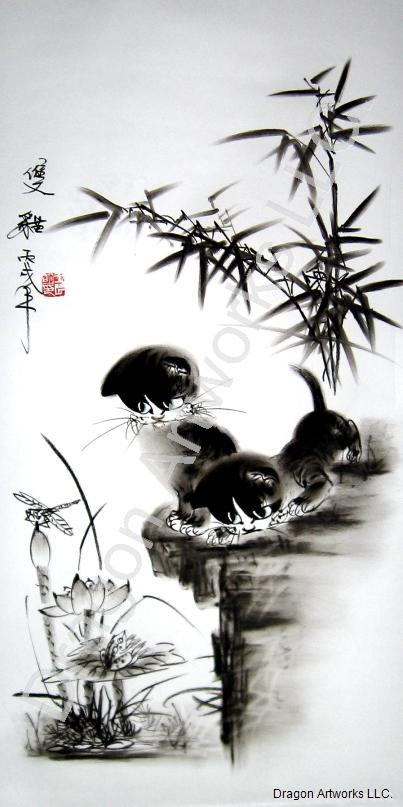 Cats Enjoy The Lotus Chinese Charcoal Drawing Artwork