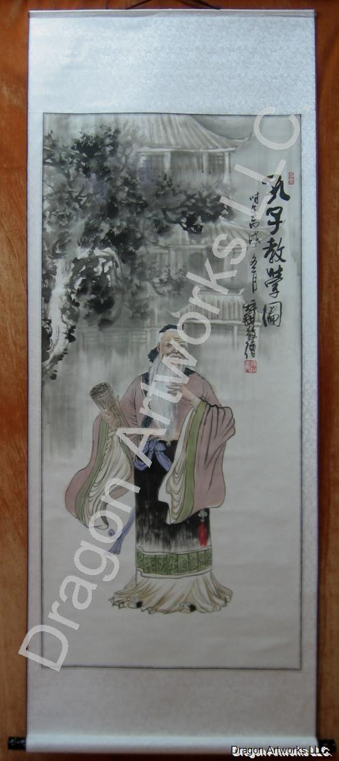 Confucius Lectures Wall Scroll Painting