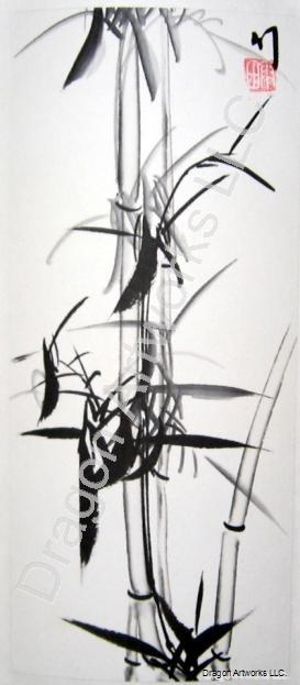 Black Bamboo Chinese Painting on Rice Paper