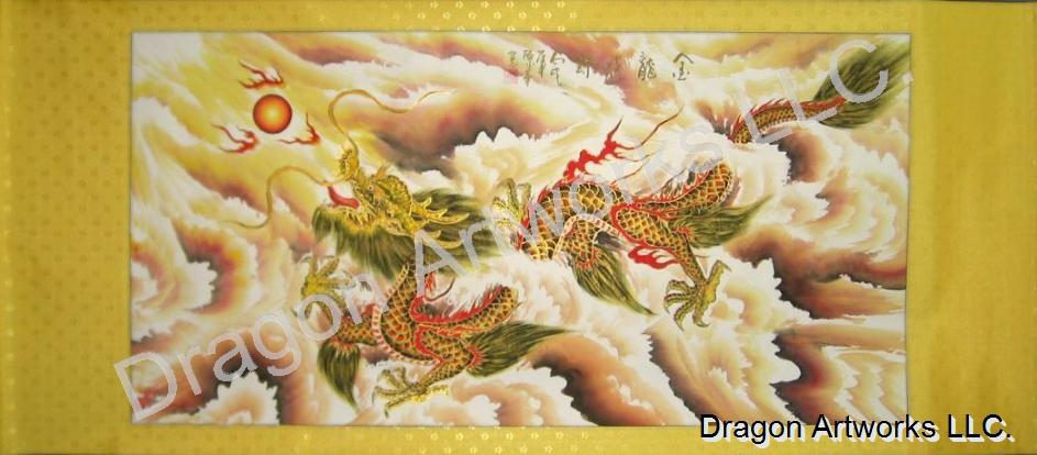 Chinese Dragon Art Wall Scroll Painting, Golden Dragon