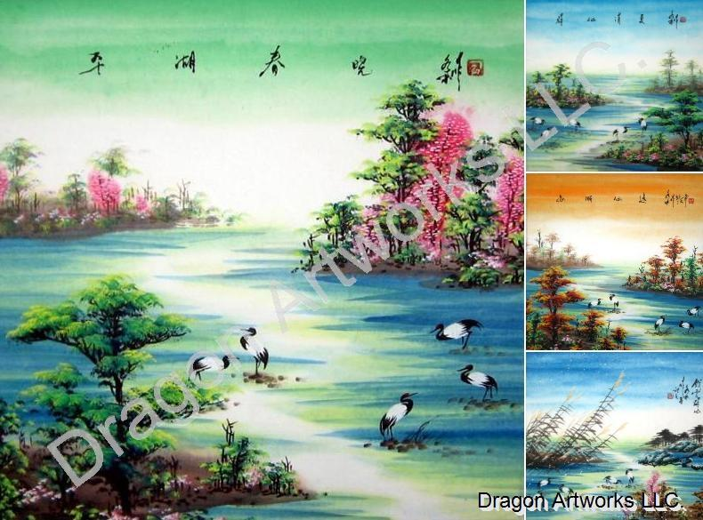 Chinese 4 Seasons Cranes Art Painting Set
