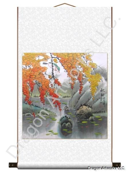 Charming Fall Season Chinese Art Brush Scroll