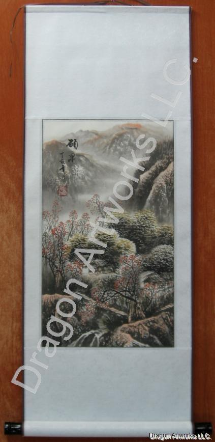 Chinese Fall Landscape Brush Painting Wall Scroll