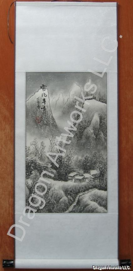 Chinese Winter Landscape Painting Brush Art Scroll