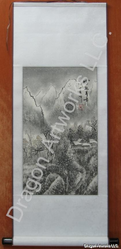Chinese Snowing Winter Landscape Painting Wall Scroll