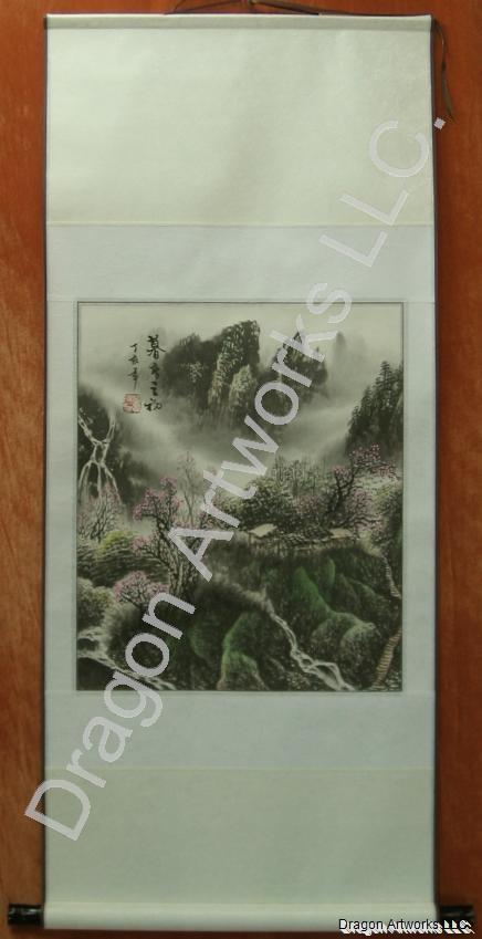 Chinese Spring Landscape Wall Scroll Painting