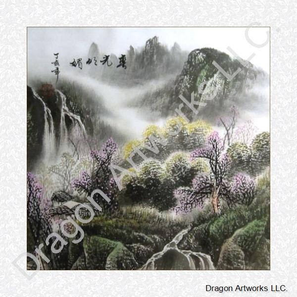 Spring Mountain Flower Trees Chinese Brush Painting