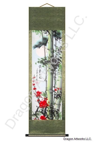 Bamboo Plum Blossoms Chinese Brush Art Scroll Painting