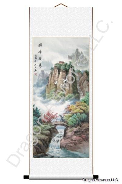 Bridge Cranes Landscape Chinese Painting Scroll