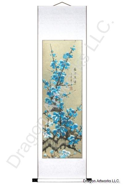 Blue Plum Blossoms Chinese Art Wall Scroll Painting