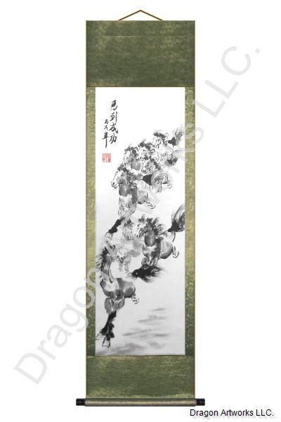 Eight Horses Wall Scroll Chinese Painting