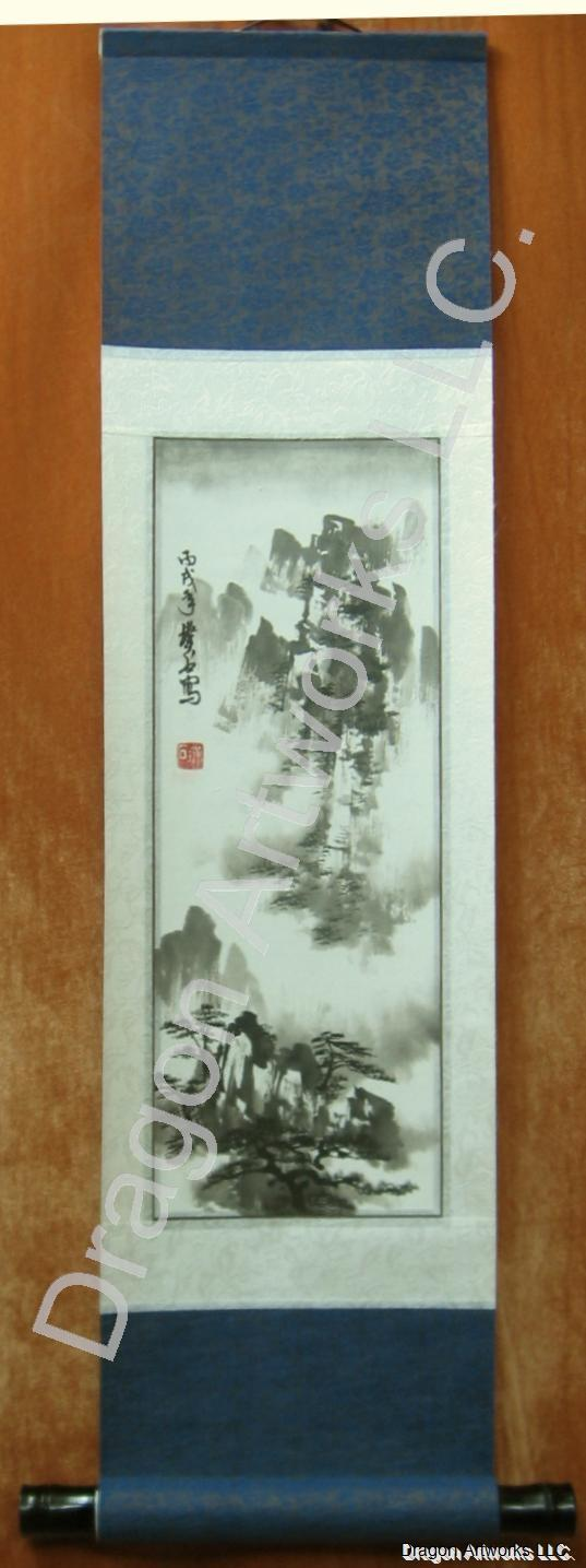 Chinese Mountain Landscape Black Ink Scroll