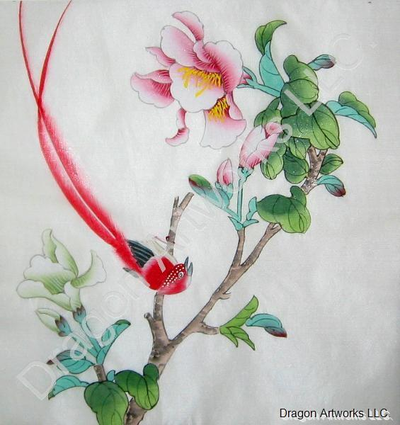 Chinese Art Egrets Painted On Silk