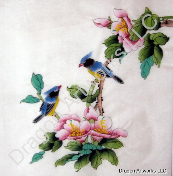 Blue Birds And Flowers Chinese Silk Painting On Silk Fabric