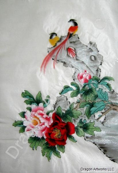 Love Birds And Flowers Chinese Silk Painting